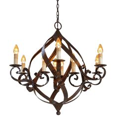 The intriguing curves of its broad iron bands with a warm Mayfair finish make this chandelier a most appealing example of the blacksmith's art.
