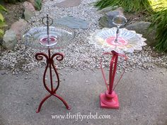 The local birds will dine in style when you put together these elegant candleholder birdfeeders.