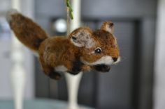 felted fox ornament. mini needle felted wool fox. by FibersofBeing