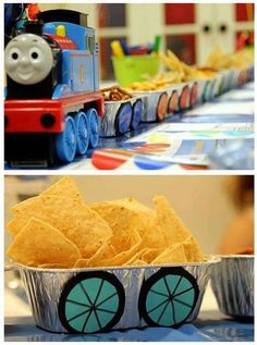 Making a food train couldn't be easier. It looks like they used a Thomas toy as the engine, foil food trays lined up behind it and cut out wheels from card. A colourful, easy, fun way to serve the party food.