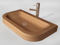 Stylish and Luxury Wooden Washbasin : Elegant Wooden Washbasin With Stainless Steel Sink