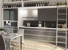 Une cuisine grise laquée Les meubles gris laqués associés aux poignées longilignes en inox font de cette cuisine un espace plein de caractère. Cuisine « Platine», prix sur demande, But