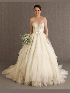 Ball Strapless Sash Lace Tulle 2014 Wedding Dresses