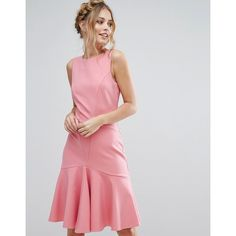 Closet London Midi Dress with Pephem (110 SGD) ❤ liked on Polyvore featuring dresses, pink, pink peplum dress, pink dress, panel midi dress, midi dress and zipper dress