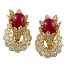 David Webb Ruby Diamond Gold Earclips | From a unique collection of vintage clip-on earrings at https://www.1stdibs.com/jewelry/earrings/clip-on-earrings/