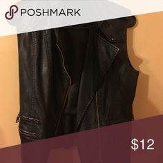 Black Leather Vest Great condition worn twice. Black leather vest Jackets & Coats Vests