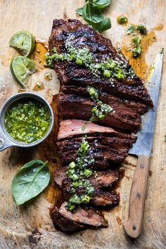 Korean Grilled Steak with Toasted Sesame Chimichurri. : overhead photo of Korean Grilled Steak with Toasted Sesame Chimichurri with knife Grilled Steak Recipes, Marinated Steak, Grilling Recipes, Beef Recipes, Cooking Recipes, Healthy Bbq Recipes, Grilled Steaks, Grilled Cheeses, Burger Recipes