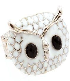 White Night Owl Ring. I need desperately! I love owls and owl jewelry