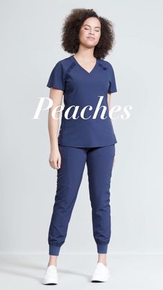 Med Couture has gone super sporty with this minimalistic V-neck top. Beautiful rib knit accents punctuate a flattering silhouette. Cute Nursing Scrubs, Cute Scrubs, Nursing Clothes, Scrubs Outfit, Scrubs Uniform, Stylish Scrubs, Fashionable Scrubs, Med Couture Scrubs, Black Scrubs