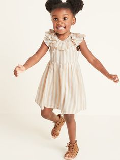 Old Navy Toddler Girls' Striped Double-Ruffled Fit & Flare Dress British Khaki Regular Size Fit Flare Dress, Flare Skirt, Fit And Flare, Old Navy Toddler Girl, Toddler Girl Dresses, Girls Clothes Shops, Clothes For Women, Kylie, British Khaki