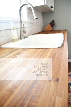 IKEA numerar butcher block counter review. Not a bad idea to read. (I LOVE IKEA kitchens!)