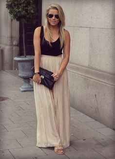 black tank, nude maxi skirt simply perfect/perfectly simple