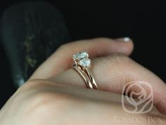 Robyn 7mm 14kt Rose Gold Round FB Moissanite 3 Stone by RosadosBox
