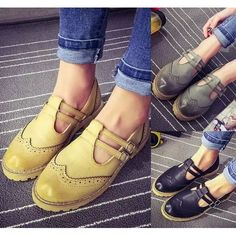 Womens Cuban Low Heels Strappy Slip On Shoes Stitched Loafers Oxfords Flats Pretty Shoes, Beautiful Shoes, Cute Shoes, Me Too Shoes, Sock Shoes, Slip On Shoes, Shoe Boots, Oxford Shoes Outfit, Oxford Flats