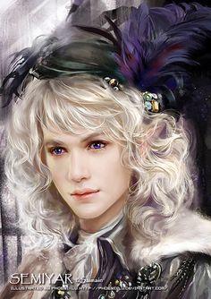 Androgyne aux longs cheveux blancs