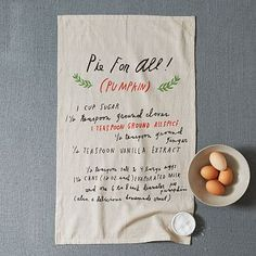 Shanna Murray Pie Recipe Tea Towel #westelm