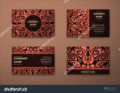 Vector Vintage Visiting Card Set. Floral Mandala Pattern And Ornaments. Oriental Design Layout. Islam, Arabic, Indian, Ottoman Motifs. Front Page And Back Page. - 378148519 : Shutterstock