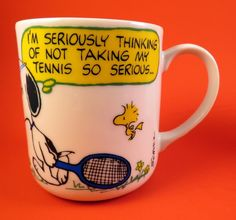 1965 Snoopy Porcelain Cup Mug Vintage Peanuts Tennis Seriously Schulz