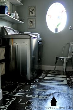 how freaking amazing is this?!  The whole laundry room is cool, but that subway print floor!!!!!!!!!