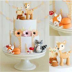 Birthday Cake Girls, Girl First Birthday, 1st Birthday Parties, Baby Shower Cakes, Baby Shower Themes, Fox Cake, Woodland Cake, Girl Cakes, First Birthdays