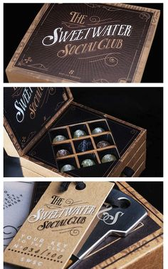 "Limited edition box of Sweetwater Social Club's Bootleg Bonbons :: According to The Dieline, ""The box contains a secret prohibition-style drawer revealing the four products in the range, each containing a spirit razing elixir of liquid fantasticality that's out of this world and a membership key to the Sweetwater Social Club website."""