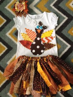 Fall thanksgiving leopard turkey shirt, rag tutu skirt and hair bow your size on Etsy, $69.99