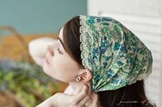 Juniper Cotton lace trimmed head covering hair by GarlandsOfGrace, $18.00