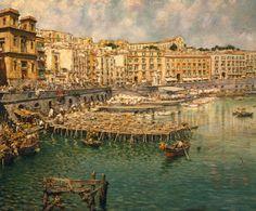 Saint Lucia in Naples, 1888, by Vincenzo Migliaro (1858-1938), Italy