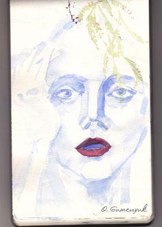 girl, flowers, inspiration. portrait, fashion illustraition  watercolor, art, print, sketch, scetchbook