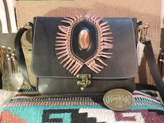 Large hand made satchel with beautiful large stone flap Applique Smooth black fine leather from Texas by RoundOakLeather on Etsy