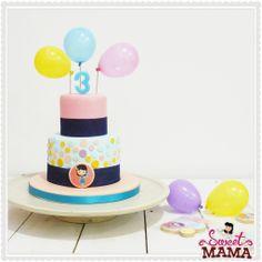 Balloons and polka dot cake www.sweetmama.es