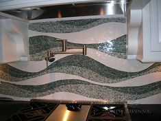 Custom Mirage backsplash shown in Kay's Green, Verde Alpi, and Thassos. New Ravenna, Hearth And Home, Stone Mosaic, Mosaic Wall, Backsplash, Interior Design, Gallery, Room, Inspiration