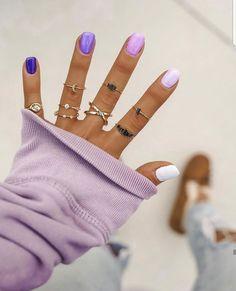 Simple Acrylic Nails, Summer Acrylic Nails, Best Acrylic Nails, Simple Nails, Purple Ombre Nails, Purple Shellac Nails, Gradient Nails, Nagellack Design, Short Gel Nails