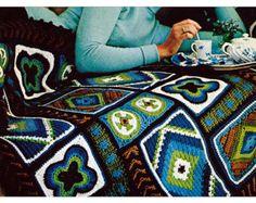 Patrón Crochet Vintage Squares afgana Custom Granny 1970 Digital Download PDF