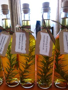 Homemade gift idea - infused olive oils -I'd love to give this gift but I think I'd have a hard time giving them away!