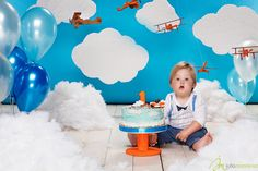 First 1 birthday smash cake aero avia plane  theme clouds blue white decorations fun boy funny red airplanes fat balloons orange