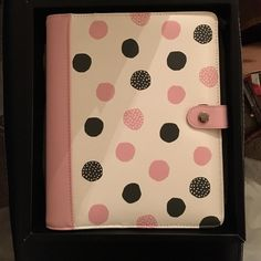 Kikki K Polka Dot A-5 planner Brand new, NEVER USED!!! Kikki K pink, black, white polka dot gorgeous planner. Comes with ALL inserts and original Box. Great gift for yourself to get yourself organized for 2016! Kikki K Other