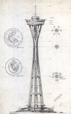 Space Needle, Century 21 Exposition 1962 Seattle World's Fair. Preliminary sketch and floor plans, Victor Steinbreuk Architecture Drawings, Amazing Architecture, Architecture Design, Installation Architecture, Architecture Diagrams, Chinese Architecture, Architecture Portfolio, Deco Originale, World's Fair