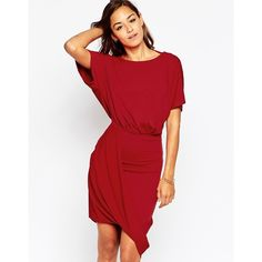 ASOS Wrap Twist T Shirt Mini Dress (€43) ❤ liked on Polyvore featuring dresses, mink, red open back dress, red dress, short wrap dress, mini wrap dress and boat neck dress