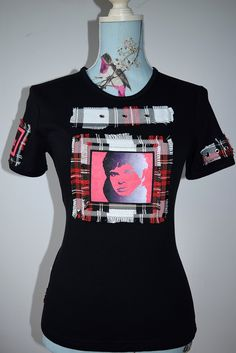 Stranglers JJ Burnell custom made t-shirt. Vibrant sublimation on velvet material and tartan.  Made by MoNkA in Scotland.  https://www.facebook.com/monka.rocks/?fref=ts