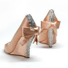 Aruna Seth Cerise Wedge shoe in Nude Satin