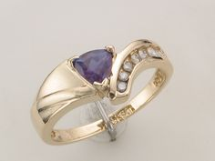 Purple Mountain #Jewelry #Custom Designs Chatham #Alexandrite & #Diamond #Ring, set in 14KT Yellow Gold