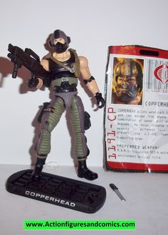 Hasbro toys action figures for sale to buy: G I JOE the RISE of COBRA (movie series) 2009 COPPERHEAD (v8 - sting raider pilot) 100% COMPLETE (also includes original file card) condition: excellent - d