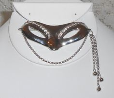 Vintage Monet Silver Mask masquerade large by BuyMyVintageLuv, $12.00