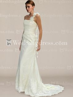 One-Shoulder Summer Wedding Gown with Lace BC691