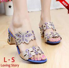 new 2014 womens sandals high heel sandals female slippers fashion rhinestone cutout women's summer shoes woman flat sandal(China (Mainland))...