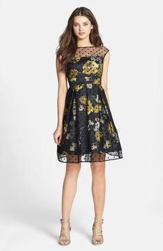 This is really cute - although it's more suitable for my 14 yo daughter than for me. (Eliza J Illusion Dot Print Charmeuse Fit & Flare Dress available at Unique Dresses, Size 14 Dresses, Fall Dresses, Cute Dresses, Cute Outfits, Floral Dresses, Girls Dresses, Dresses To Wear To A Wedding, Wedding Dress