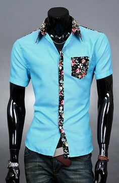 $6.52 Fashion Style Turn-down Collar Slimming Colorful Floral Print Personality Splicing Short Sleeves Polyester Shirt For Men