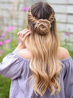 long hair models - wedding hairstyles half with curls and braid and buns on long hair - lange Haarmodelle - Fancy Hairstyles, Box Braids Hairstyles, Hairstyles For Round Faces, Hairstyle Ideas, Summer Hairstyles, Hairstyles Men, Prom Hairstyles For Long Hair Half Up, Rose Hairstyle, Amazing Hairstyles