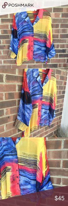 """Like new Chico's ❤️100% silk color block blouse Like new Chico's ❤️100% silk multi-color blouse, 3/4 sleeve, button closure at the end of the sleeve. Yellow, blue and red, very colorful and fun top. Small Split on the side. Chico's size 3, which is 16 in regular size. Smoke and pet free home, fast shipping. Measurements when laying flat: pit to pit 24"""", length from shoulder 25"""". Chico's Tops Blouses"""